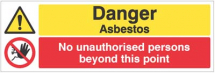DANGER ASBESTOS NO UNAUTH PERSONS BEYOND THIS POINT