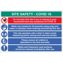 WASH HANDS ETC... SITE SAFETY BOARD COVID19