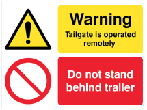 TAILGATE IS OPERATED REMOTELY DO NOT STAND BEHIND TRAILER