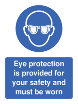 EYE PROTECTION PROVIDED FOR YOUR SAFETY & MUST BE WORN