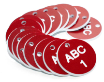 27MM ENGRAVED VALVE TAGS (EG. 1-50) WHITE TEXT ON RED