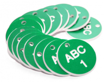 27MM ENGRAVED VALVE TAGS (EG. 1-50) WHITE TEXT ON GREEN