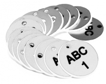 38MM ENGRAVED VALVE TAGS (EG. 1-50) BLACK TEXT ON WHITE