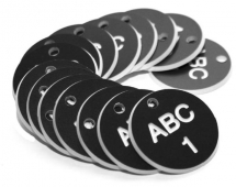38MM ENGRAVED VALVE TAGS (EG. 1-50) WHITE TEXT ON BLACK
