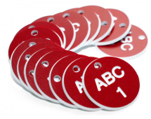 38MM ENGRAVED VALVE TAGS (EG. 1-50) WHITE TEXT ON RED
