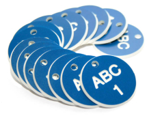 38MM ENGRAVED VALVE TAGS (EG. 1-50) WHITE TEXT ON BLUE