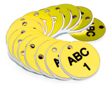 38MM ENGRAVED VALVE TAGS (EG. 1-50) BLACK TEXT ON YELLOW