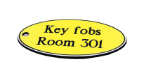 78X150MM KEY FOB OVAL - BLACK TEXT ON YELLOW