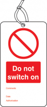 DO NOT SWITCH ON DOUBLE SIDED SAFETY TAGS (PACK OF 10)