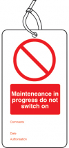 MAINTENANCE IN PROGRESS DOUBLE SIDED SAFETY TAGS-PK 10