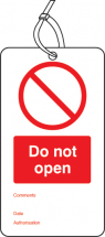 DO NOT OPEN DOUBLE SIDED SAFETY TAGS (PACK OF 10)