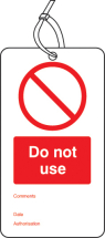 DO NOT USE DOUBLE SIDED SAFETY TAGS (PACK OF 10)