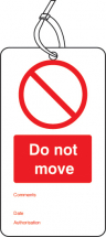 DO NOT MOVE DOUBLE SIDED SAFETY TAGS (PACK OF 10)