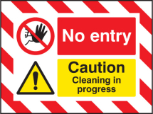 NO ENTRY CAUTION CLEANING IN PROGRESS 600X450MM