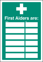 FIRST AIDERS ARE (SPACE FOR 6) ADAPT-A-SIGN 215X310MM
