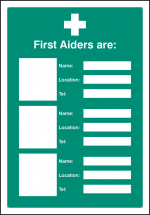 FIRST AIDERS ARE (SPACE FOR 3) ADAPT-A-SIGN 215X310MM