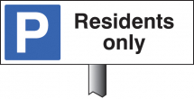 PARKING RESIDENTS ONLY VERGE SIGN 450X150MM (POST 800MM)