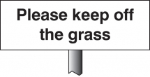 PLEASE KEEP OFF THE GRASS VERGE 450X150MM - POST 800MM