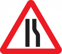 ROAD NARROWS RIGHT FOLD UP 600MM TRIANGLE SIGN