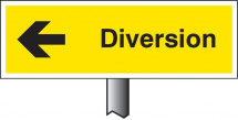 VERGE SIGN - DIVERSION LEFT 450X150MM (POST 800MM)