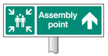 VERGE SIGN-ASSEMBLY POINT STRAIGHT ON 450X150-POST 800MM