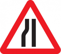 ROAD NARROWS LEFT FOLD UP 600MM TRIANGLE SIGN
