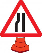 ROAD NARROWING LEFT CONE SIGN 750MM