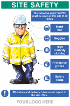PPE REQUIREMENT SIGN HAT,GOGGLES,HIVIS,GLOVES,BOOTS