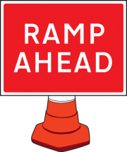RAMP AHEAD CONE SIGN 600X450MM