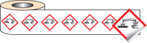 250 S/A LABELS 50X50MM GHS LABEL - CORROSIVE