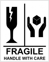 FRAGILE HANDLE WITH CARE STICKERS 75X100MM-250 PER ROLL