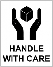 HANDLE WITH CARE STICKERS 75X100MM-250 PER ROLL