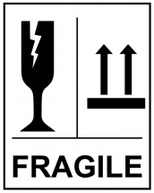 FRAGILE GLASS THIS WAY UP STICKERS - 250 PER ROLL