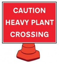 HEAVY PLANT CROSSING REFLECTIVE CONE SIGN