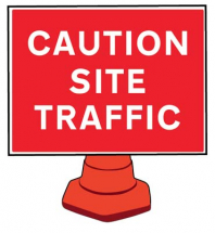 SITE TRAFFIC CONE SIGN 600X450MM(CONE NOT INCLUDED)