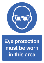 EYE PROTECTION MUST BE WORN A4 SAV