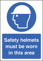 SAFETY HELMET MUST BE WORN A4 RP