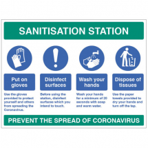 SANITISATION STATION ETC SITE SAFETY BOARD COVID19