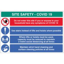 USE STAIRS ETC SITE SAFETY BOARD COVID19