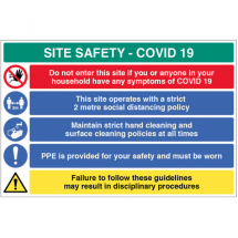 2METRE POLICY ETC SITE SAFETY BOARD COVID19