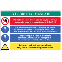 CORONAVIRUS POLICIES ETC SITE SAFETY BOARD COVID19