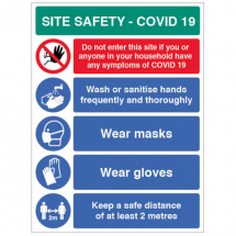 WASH HANDS ETC SITE SAFETY BOARD COVID19