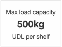 MAX LOAD CAPACITY 500KG UDL PER SHELF, 100X75MM MAG PVC