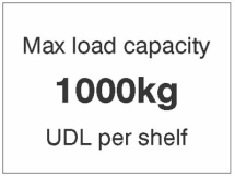 MAX LOAD CAPACITY 1000KG UDL PER SHELF,100X75MM MAG PVC