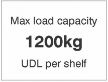 MAX LOAD CAPACITY 1200KG UDL PER SHELF,100X75MM MAG PVC