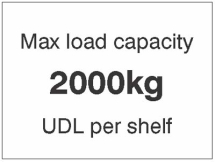 MAX LOAD CAPACITY 2000KG UDL PER SHELF,100X75MM MAG PVC