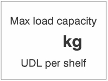 MAX LOAD CAPACITY ___KG UDL PER SHELF, 100X75MM MAG PVC