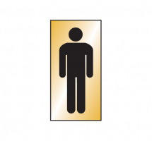 GENTS SYMBOL 70X140MM ENGRAVED BRASS EFFECT PVC