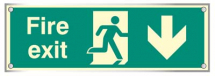 FIRE EXIT DOWN VISUAL IMPACT C/W STAND OFF LOCATORS
