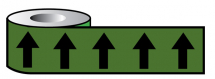 PIPELINE ID BLACK ARROWS ON GREEN (12D45) 50MM X 33M